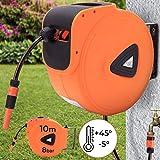 Schlauchtrommel - 10m, 20m oder 30m, automatisch, 3/4 Zoll, 180° schwenkbar, inkl. Sprühdüse, Wandmontage - Schlauchaufroller, Wasserschlauch, Gartenschlauch Aufroller, Gartenschlauchtrommel (10 m)